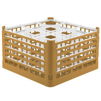 Vollrath 52765 Signature Full-Size Gold 9-Compartment 10 9/16 inch XXX-Tall Plus Glass Rack