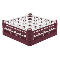 Vollrath 52774 Signature Full-Size Burgundy 25-Compartment 6 1/4 inch Tall Plus Glass Rack