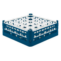 Vollrath 52774 Signature Full-Size Royal Blue 25-Compartment 6 1/4 inch Tall Plus Glass Rack