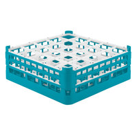 Vollrath 52774 Signature Full-Size Light Blue 25-Compartment 6 1/4 inch Tall Plus Glass Rack