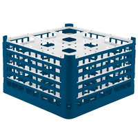 Vollrath 52765 Signature Full-Size Royal Blue 9-Compartment 10 9/16 inch XXX-Tall Plus Glass Rack