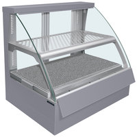 Hatco FSCDH-2PD Gray Flav-R-Savor Convected Air Curved Front Display Case with Humidity Control - 120/208V