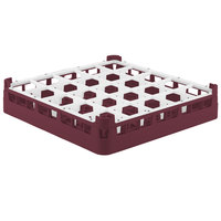 Vollrath 52772 Signature Full-Size Burgundy 25-Compartment 3 1/4 inch Short Plus Glass Rack