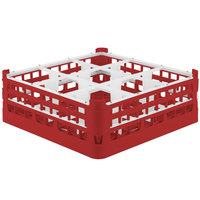 Vollrath 52762 Signature Full-Size Red 9-Compartment 6 1/4 inch Tall Plus Glass Rack