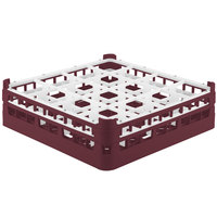 Vollrath 52767 Signature Full-Size Burgundy 16-Compartment 4 13/16 inch Medium Plus Glass Rack