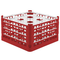 Vollrath 52765 Signature Full-Size Red 9-Compartment 10 9/16 inch XXX-Tall Plus Glass Rack