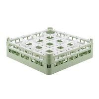 Vollrath 52767 Signature Full-Size Light Green 16-Compartment 4 13/16 inch Medium Plus Glass Rack