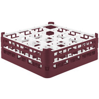 Vollrath 52768 Signature Full-Size Burgundy 16-Compartment 6 1/4 inch Tall Plus Glass Rack