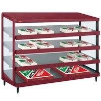 Hatco GRPWS-4818Q Wine Red Glo-Ray 48 inch Quadruple Shelf Pizza Warmer - 120/208V, 3840W