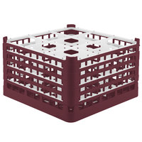 Vollrath 52765 Signature Full-Size Burgundy 9-Compartment 10 9/16 inch XXX-Tall Plus Glass Rack