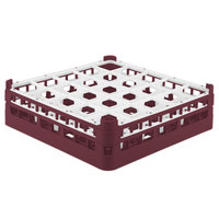 Vollrath 52773 Signature Full-Size Burgundy 25-Compartment 4 13/16 inch Medium Plus Glass Rack