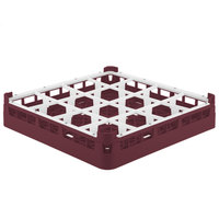 Vollrath 52766 Signature Full-Size Burgundy 16-Compartment 3 1/4 inch Short Plus Glass Rack