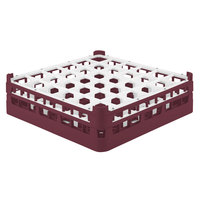 Vollrath 52779 Signature Full-Size Burgundy 36-Compartment 4 13/16 inch Medium Plus Glass Rack