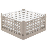 Vollrath 52782 Signature Full-Size Beige 36-Compartment 9 1/16 inch XX-Tall Plus Glass Rack
