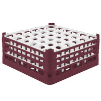 Vollrath 52781 Signature Full-Size Burgundy 36-Compartment 7 11/16 inch X-Tall Plus Glass Rack
