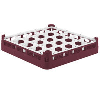 Vollrath 52684 Signature Full-Size Burgundy 25-Compartment 2 13/16 inch Short Glass Rack