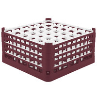 Vollrath 52782 Signature Full-Size Burgundy 36-Compartment 9 1/16 inch XX-Tall Plus Glass Rack