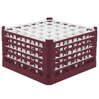 Vollrath 52783 Signature Full-Size Burgundy 36-Compartment 10 9/16 inch XXX-Tall Plus Glass Rack