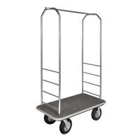 CSL 2099GY-010 Stainless Steel Finish Bellman's Cart with Rectangular Gray Carpet Base, Gray Bumper, Clothing Rail, and 8 inch Black Pneumatic Casters - 43 inch x 23 inch x 72 1/2 inch