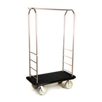 CSL 2099BK-050 Stainless Steel Finish Bellman's Cart with Rectangular Black Carpet Base, Black Bumper, Clothing Rail, and 8 inch Gray Polyurethane Casters - 43 inch x 23 inch x 72 1/2 inch