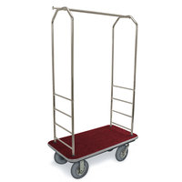 CSL 2099GY-020 Stainless Steel Finish Bellman's Cart with Rectangular Red Carpet Base, Gray Bumper, Clothing Rail, and 8 inch Gray Pneumatic Casters - 43 inch x 23 inch x 72 1/2 inch