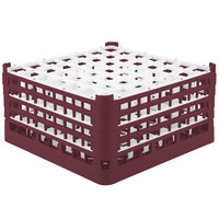 Vollrath 52788 Signature Full-Size Burgundy 49-Compartment 9 1/16 inch XX-Tall Plus Glass Rack