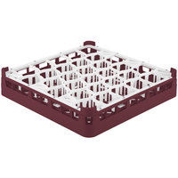 Vollrath 52811 Signature Lemon Drop Full-Size Burgundy 30-Compartment 3 1/4 inch Short Plus Glass Rack