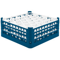 Vollrath 52832 Signature Lemon Drop Full-Size Royal Blue 30-Compartment 7 1/8 inch X-Tall Glass Rack