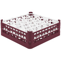 Vollrath 52817 Signature Lemon Drop Full-Size Burgundy 30-Compartment 6 1/4 inch Tall Plus Glass Rack