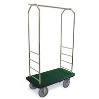 CSL 2099BK-020 Stainless Steel Finish Bellman's Cart with Rectangular Green Carpet Base, Black Bumper, Clothing Rail, and 8 inch Gray Pneumatic Casters - 43 inch x 23 inch x 72 1/2 inch