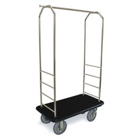 CSL 2099BK-040 Stainless Steel Finish Bellman's Cart with Rectangular Black Carpet Base, Black Bumper, Clothing Rail, and 5 inch Gray Polyurethane Casters - 43 inch x 23 inch x 72 1/2 inch