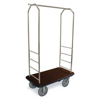 CSL 2099BK-020 Stainless Steel Finish Bellman's Cart with Rectangular Brown Carpet Base, Black Bumper, Clothing Rail, and 8 inch Gray Pneumatic Casters - 43 inch x 23 inch x 72 1/2 inch