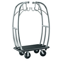 CSL 3699BK-010-BLK Angel Style Bellman's Cart with Black Carpet Base, Black Bumper, Clothing Rail, and 8 inch Black Pneumatic Casters - 48 inch x 24 inch x 72 inch