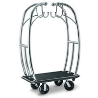 CSL 3699BK-010- BLK Angel Style Titanium Gold Bellman's Cart with Black Carpet Base, Black Bumper, Clothing Rail, and 8 inch Black Pneumatic Casters - 48 inch x 24 inch x 72 inch