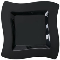 Fineline Wavetrends 108-BK 8 inch Black Plastic Square Plate - 10/Pack