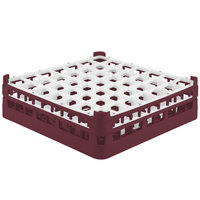 Vollrath 52785 Signature Full-Size Burgundy 49-Compartment 4 13/16 inch Medium Plus Glass Rack