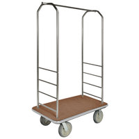 CSL 2099GY-040 Stainless Steel Finish Bellman's Cart with Rectangular Tan Carpet Base, Gray Bumper, Clothing Rail, and 5 inch Gray Polyurethane Casters - 43 inch x 23 inch x 72 1/2 inch