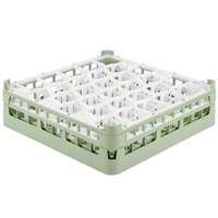 Vollrath 52812 Signature Lemon Drop Full-Size Light Green 30-Compartment 4 5/16 inch Medium Glass Rack