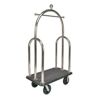 CSL 3599BK-010-GRY Trident Style Stainless Steel Finish Bellman's Cart with Gray Carpet Base, Black Bumper, Clothing Rail, and 8 inch Black Pneumatic Casters - 45 inch x 25 inch x 77 inch