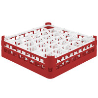 Vollrath 52812 Signature Lemon Drop Full-Size Red 30-Compartment 4 5/16 inch Medium Glass Rack