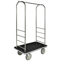 CSL 2099GY-040 Stainless Steel Finish Bellman's Cart with Rectangular Black Carpet Base, Gray Bumper, Clothing Rail, and 5 inch Gray Polyurethane Casters - 43 inch x 23 inch x 72 1/2 inch