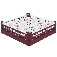 Vollrath 52812 Signature Lemon Drop Full-Size Burgundy 30-Compartment 4 5/16 inch Medium Glass Rack