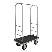 CSL 2099GY-010 Stainless Steel Finish Bellman's Cart with Rectangular Black Carpet Base, Gray Bumper, Clothing Rail, and 8 inch Black Pneumatic Casters - 43 inch x 23 inch x 72 1/2 inch