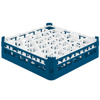 Vollrath 52813 Signature Lemon Drop Full-Size Royal Blue 30-Compartment 4 13/16 inch Medium Plus Glass Rack