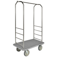 CSL 2099GY-040 Stainless Steel Finish Bellman's Cart with Rectangular Gray Carpet Base, Gray Bumper, Clothing Rail, and 5 inch Gray Polyurethane Casters - 43 inch x 23 inch x 72 1/2 inch