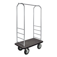 CSL 2099BK-010 Stainless Steel Finish Bellman's Cart with Rectangular Gray Carpet Base, Black Bumper, Clothing Rail, and 8 inch Black Pneumatic Casters - 43 inch x 23 inch x 72 1/2 inch