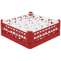 Vollrath 52816 Signature Lemon Drop Full-Size Red 30-Compartment 5 11/16 inch Tall Glass Rack