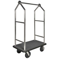CSL 2699BK-010-GRY Stainless Steel Finish Heavy Duty Bellman's Cart with Rectangular Gray Carpet Base, Black Bumper, Angled Top Clothing Rail, and 8 inch Black Pneumatic Casters - 44 inch x 24 inch x 70 inch
