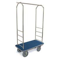 CSL 2099GY-020 Stainless Steel Finish Bellman's Cart with Rectangular Blue Carpet Base, Gray Bumper, Clothing Rail, and 8 inch Gray Pneumatic Casters - 43 inch x 23 inch x 72 1/2 inch