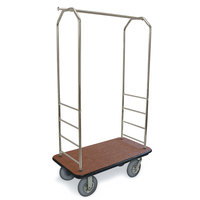 CSL 2099BK-040 Stainless Steel Finish Bellman's Cart with Rectangular Tan Carpet Base, Black Bumper, Clothing Rail, and 5 inch Gray Polyurethane Casters - 43 inch x 23 inch x 72 1/2 inch